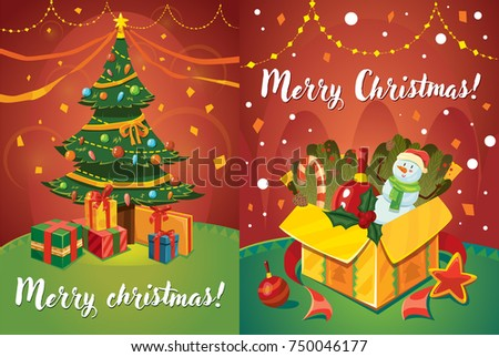 Set two vector christmas greeting card stock vector 2018 750046177 set of two vector christmas greeting card design templates christmas tree with gifts and garlands m4hsunfo