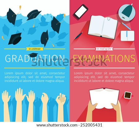 Set of two vector education banners. Preparing for examinations banner with hands which is holding book. Celebrating a graduation banner with student hands which is throwing up square academic caps - stock vector