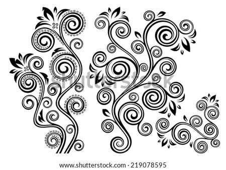Set of two vector floral illustrations. - stock vector