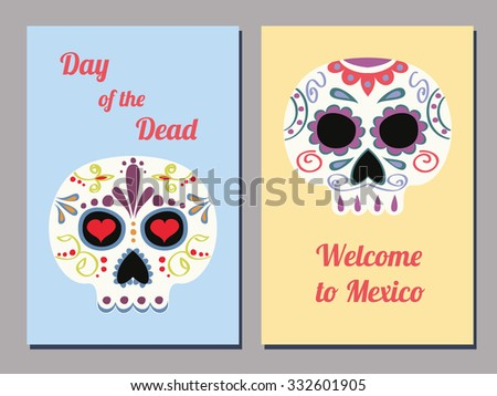 set of two vector greeting cards for the Mexican day of the Dead with decorated human skulls and text - stock vector