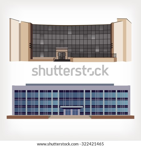 Set of two vector illustration of modern buildings