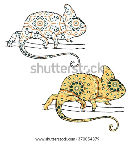 Set of two vector illustratons of chamaleon with hand drawn pattern. Reptile isolated on white - stock vector