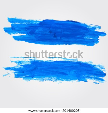 Set of two vector spots of blue oil paint. Artistic paint strokes background.  - stock vector