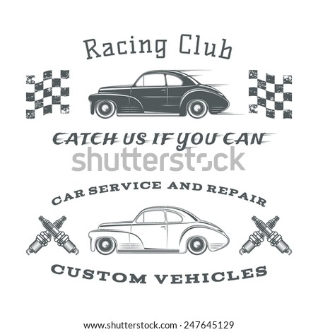 Set of two vintage, classic car labels, racing club and garage. Vector illustration - stock vector