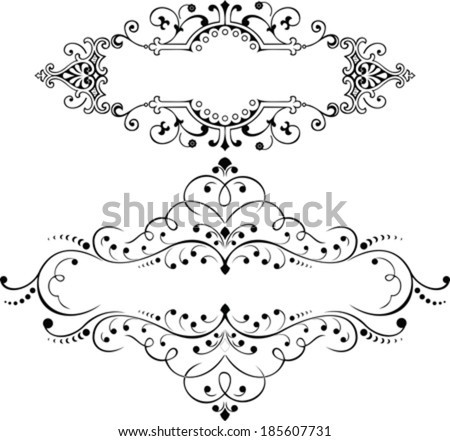 Set Of Two Vintage Ornate Curves Elements - stock vector
