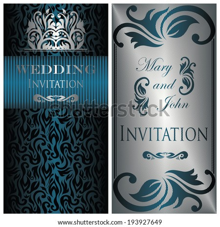 Set of two wedding invitations. Vintage style, floral design