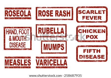 Set of typical childhood diseases. Grunge style ink stamps. Vector illustration on white background. - stock vector