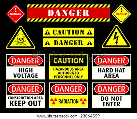 Set of typical danger and caution warning symbols - stock vector