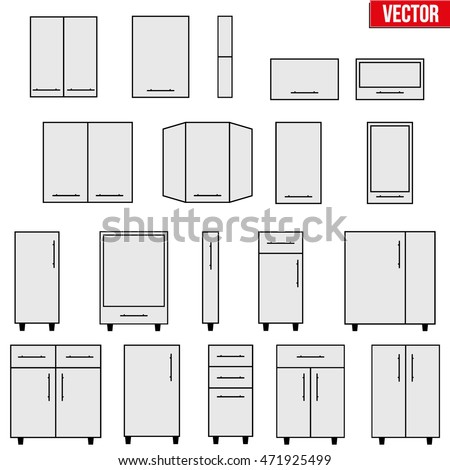 Set Typical Objects Modular Kitchens Flat Stock Vector 471925499 Shutterstock
