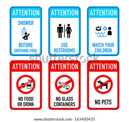 Set of typical pool warning and prohibited signs - stock vector
