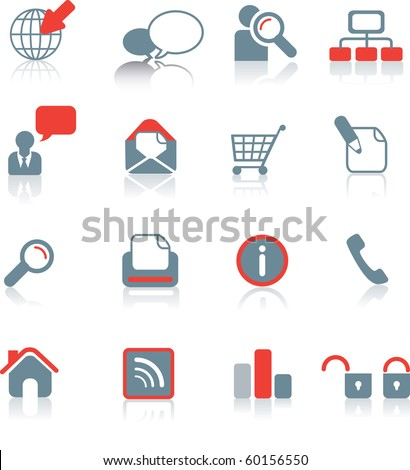 Set of typical website icons on white background with reflection