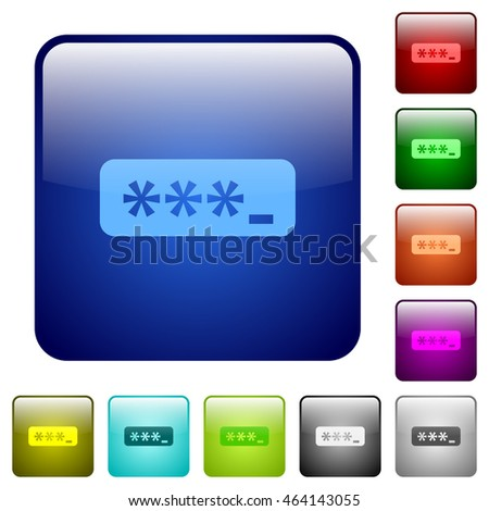 Set of typing password color glass rounded square buttons