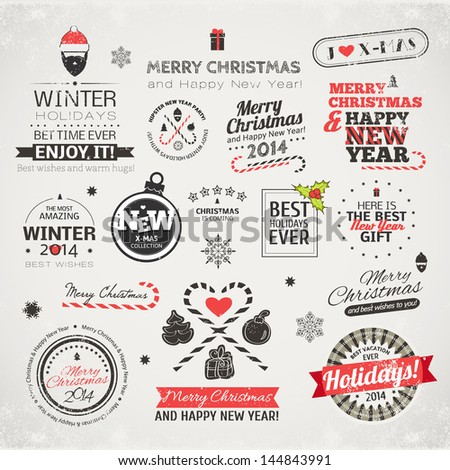 Set of typographic elements. Christmas vector collection. Different labels for your design. - stock vector