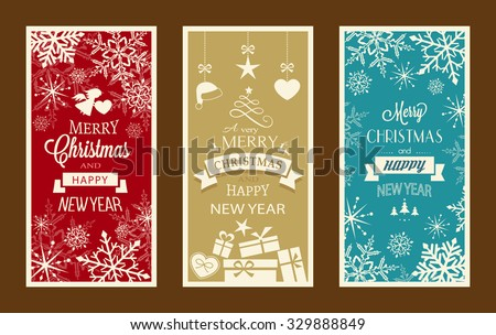 Set of typography Merry Christmas and Happy New Year banners with embellishments and Christmas ornaments. - stock vector
