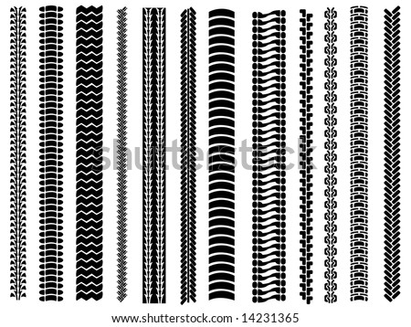 Set of 12 tyre tracks - stock vector