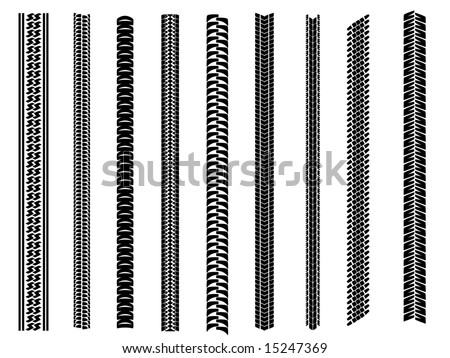 Set of 9 tyre tracks - stock vector
