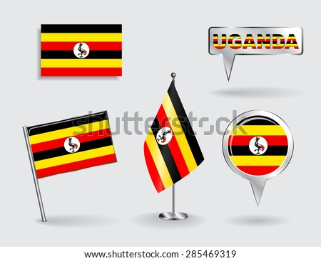Set of Uganda pin, icon and map pointer flags. Vector illustration. - stock vector