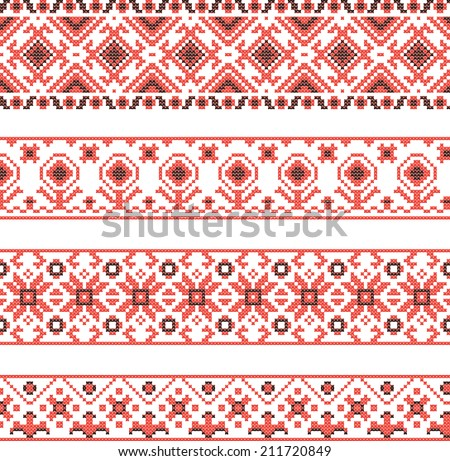 Set of Ukrainian national ornaments  - stock vector