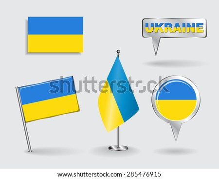 Set of Ukrainian pin, icon and map pointer flags. Vector illustration. - stock vector
