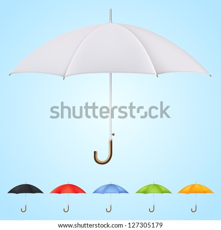 Set of 6 umbrellas in different colors on blue background. - stock vector