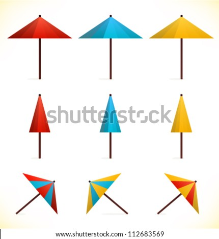 Set of umbrellas. Sunshades. Parasols. Multicolor icons for web pages, games, presentations - stock vector