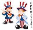 Set of Uncle Sam Portrait - stock photo