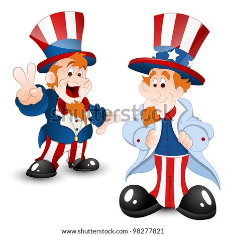 Set of Uncle Sam Portrait - stock vector