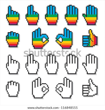 Set of uncommon cursor hands in rainbow colors plus black and white. - stock vector