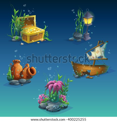 Set of underwater objects. Seaweeds, bubbles, a chest of coins, wealth, old broken amphora, stones, sunken boat, lantern. For web design, print, cards, video games, posters, magazines, newspapers. - stock vector