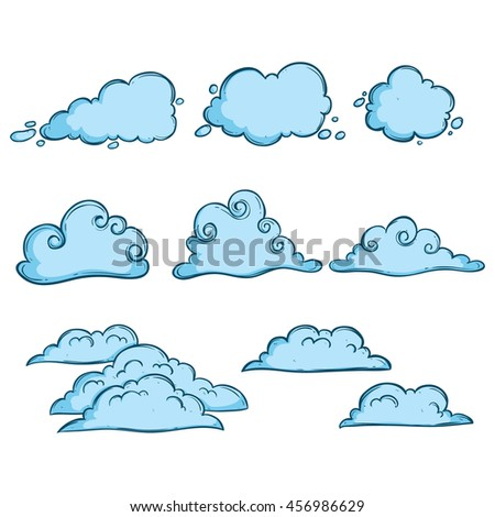 Set of unique clouds with blue color and using doodle art - stock vector