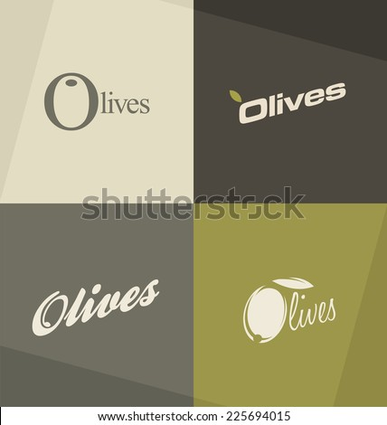 Set of unique olives logo design concepts and ideas based on typography. - stock vector