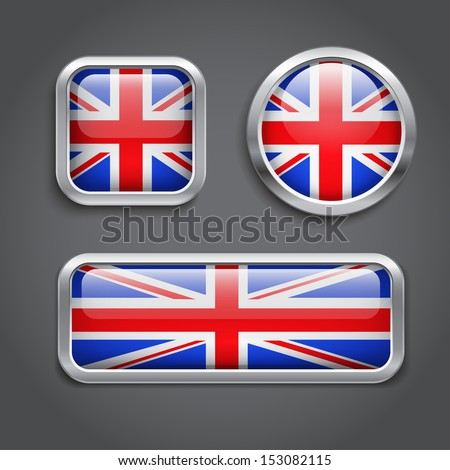 Set of United Kingdom Flag buttons, vector - stock vector