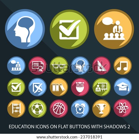 Set of Universal and Standard Education Icons on Flat Circular Colored Buttons with Shadows 2 on Black Background (isolated elements) - stock vector
