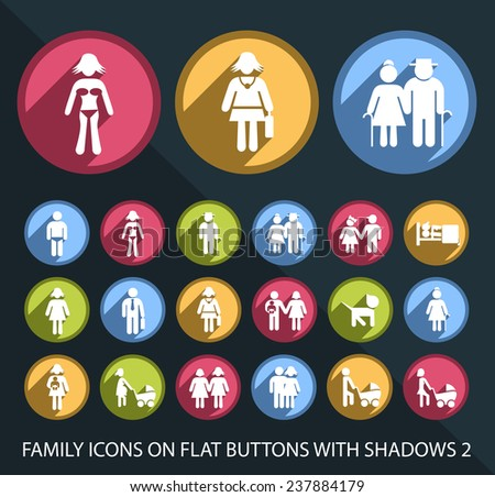 Set of Universal and Standard Family Icons on Flat Circular Colored Buttons with Shadows 2 on Black Background (isolated elements) - stock vector