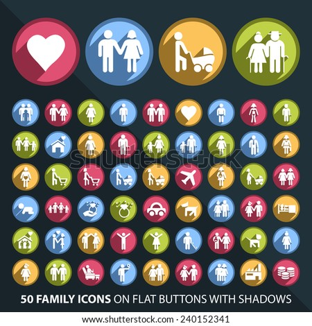 Set of 50 Universal and Standard White Family Icons on Flat Circular Colored Buttons with Shadows on Black Background ( isolated elements )