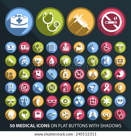 Set of 50 Universal and Standard White Medical Icons on Flat Circular Colored Buttons with Shadows on Black Background ( isolated elements ) - stock vector