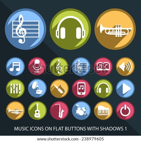 Set of Universal and Standard White Music Icons on Flat Circular Colored Buttons with Shadows 1 on Black Background ( isolated elements ) - stock vector