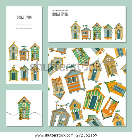 Set of 4 universal cards with beach huts. Template. Beach party, pool party, birthday, holiday. Vector illustration - stock vector