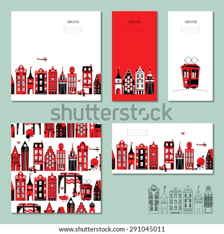 Set of 5 universal cards with old European style buildings. Template. Business card, special event, invitation, housewarming party. Vector illustration - stock vector