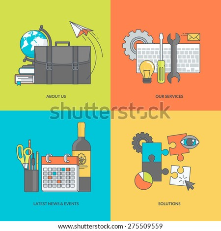 Set of universal color line icons - stock vector