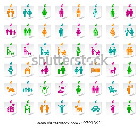 Set of 48 Universal Colored Flat Simple Funny Medical Icons on Notepaper. - stock vector