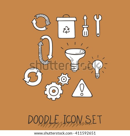 Set of Universal Doodle Icons. Variety of Topics. Processing, Arrows, Light Bulb. - stock vector