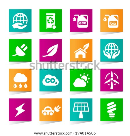 Set of Universal Ecology Icons on Square Colored Buttons 2.