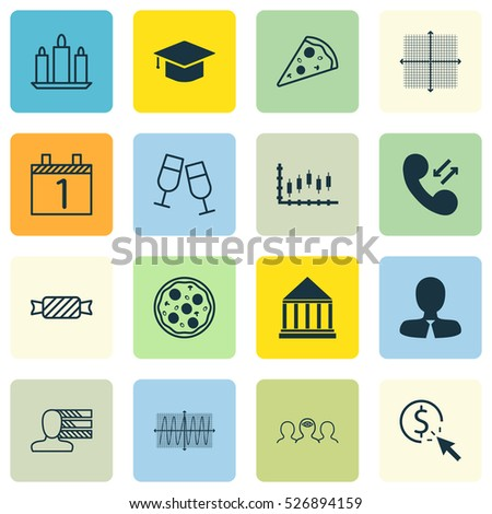 Set Of 16 Universal Editable Icons. Can Be Used For Web, Mobile And App Design. Includes Elements Such As PPC, Graduation, Wax And More.