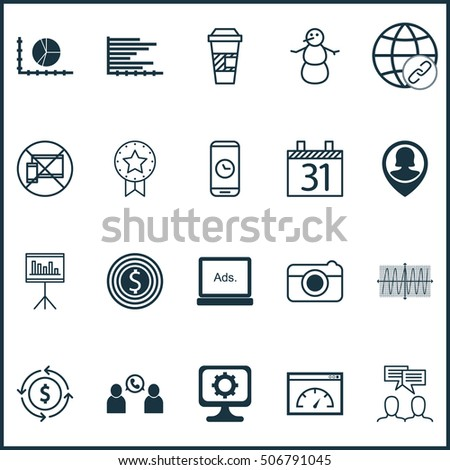 Set Of 20 Universal Editable Icons. Can Be Used For Web, Mobile And App Design. Includes Icons Such As Money Recycle, Call Duration, Cosinus Diagram And More.