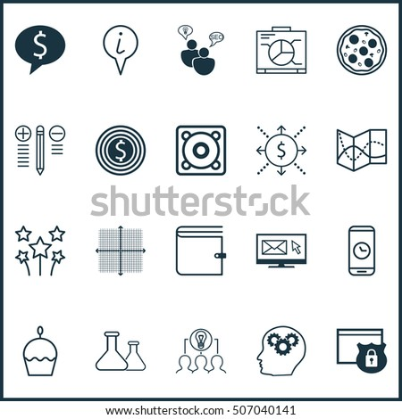 Set Of 20 Universal Editable Icons. Can Be Used For Web, Mobile And App Design. Includes Icons Such As Brain Process, Graphical Grid, Festive Fireworks And More.