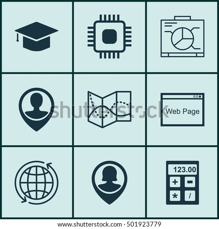 Set Of 9 Universal Editable Icons For Human Resources, Travel And Project Management Topics. Includes Icons Such As Graduation, Board, Pin Employee And More.