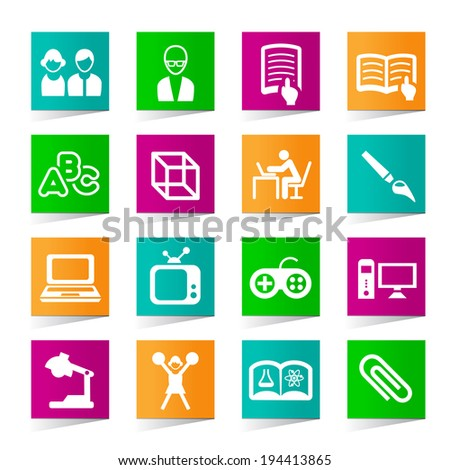 Set of Universal Education Icons on Square Colored Buttons 3. - stock vector