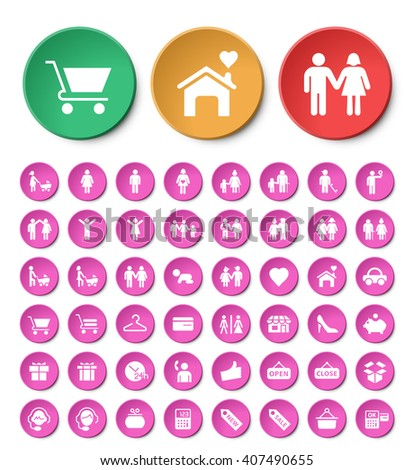 Set of 48 Universal Family and Shopping Icons. Isolated Elements.