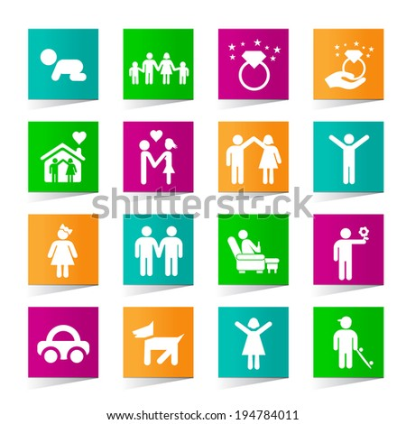 Set of Universal Family Icons on Square Colored Buttons on White Background 3.